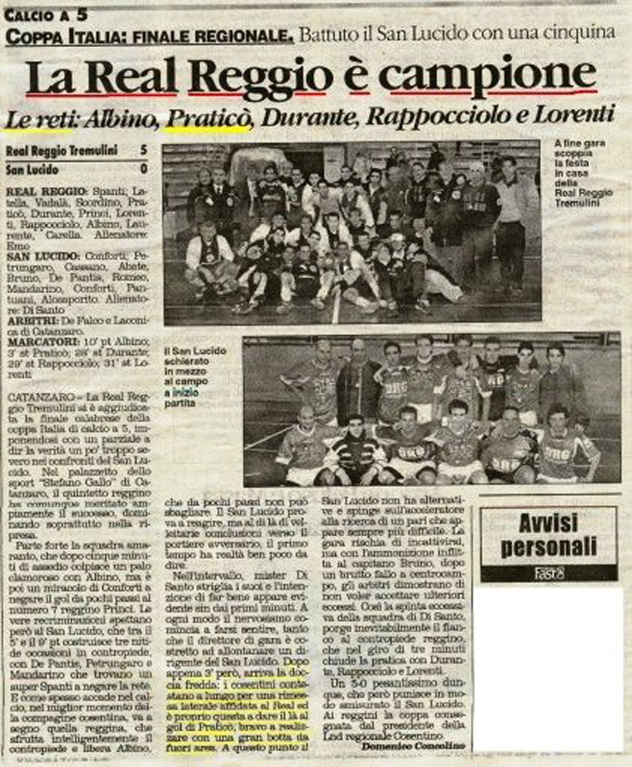 articolo Real Reggio Coppa  Italia